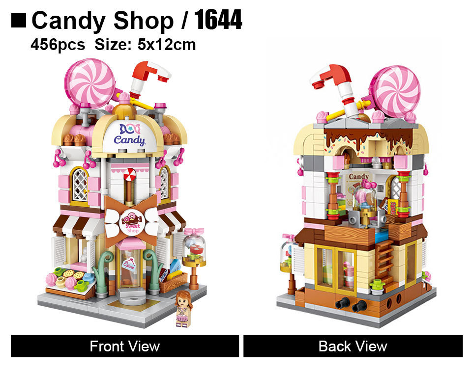 LOZ Mini Street DIY Mini Nano Diamond Building Block shop CANDY SHOP 1644